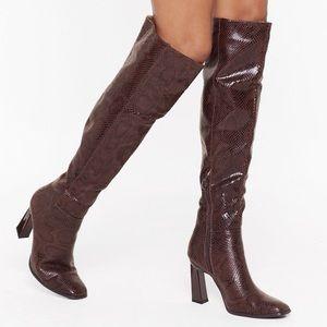 Nasty Gal Brand New Snakeskin Boots